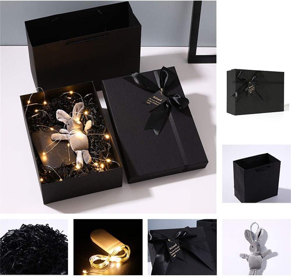 Gsej-cajas para regalos Caja de Regalo Fina Rectangular Negra Cuadrada con Tapas, Accesorios de Caja de Regalo con Luces Decorativas de Relleno Conejo de Juguete, Caja de Regalo para Pulsera de acci: