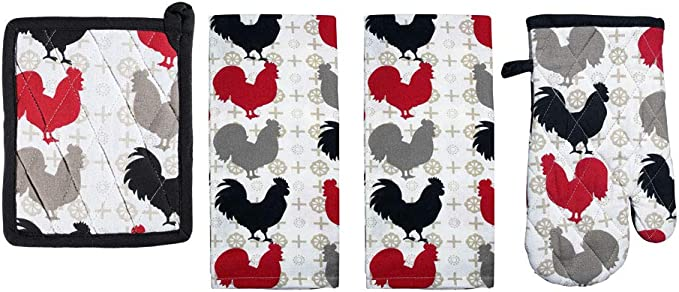 Mabelle Farm Fresh Rooster Kitchen Linen Bundle 1 Quilted Pot Holders 2 Kitchen Towels 1 Oven Mitt