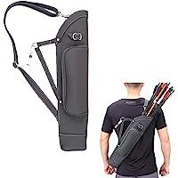 KRATARC Archery Dual Use Leather Back Arrow Quiver Hip Quiver Waist Hang Side with Adjustable Strap Belt Clip