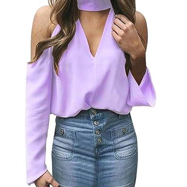 Camicie Manica Lunga Donna,Yesmile T Shirt da Donna con Spalle Scoperte, Maglia Maniche Lunghe Casuali delle Camicette Chiffon con Scollo V Colore