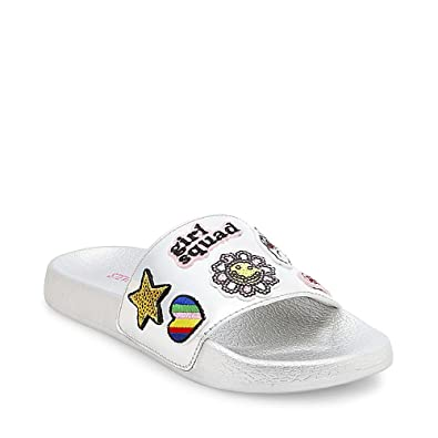 Steve Madden Girls' Grlsquad Slide, Silver, 2 M US Little Kid