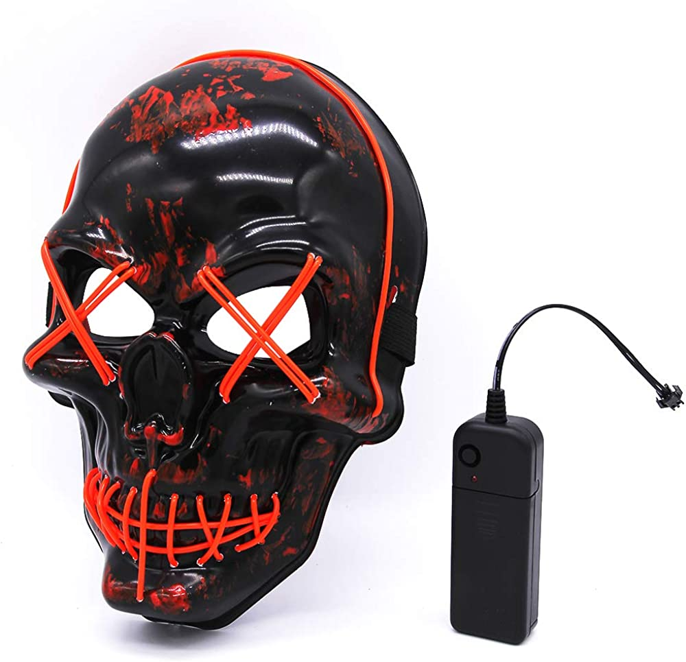 JOINBO Halloween LED Mask Skull Scary Mask Cosplay Led Costume Mask EL Wire Light up for Halloween Festival Party