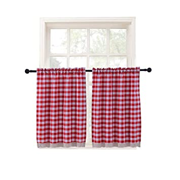 Kitchen Curtains Window Treatment Tier Curtains Checkered Cotton Blend for  Living Dining Room Set of 2 Each 29 x 36 inches Rod Pocket Red