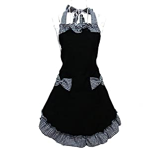 Hyzrz Cute Retro Lovely Lady's Kitchen Flirty Black Vintage Aprons for Women Girls with Pockets for Gift