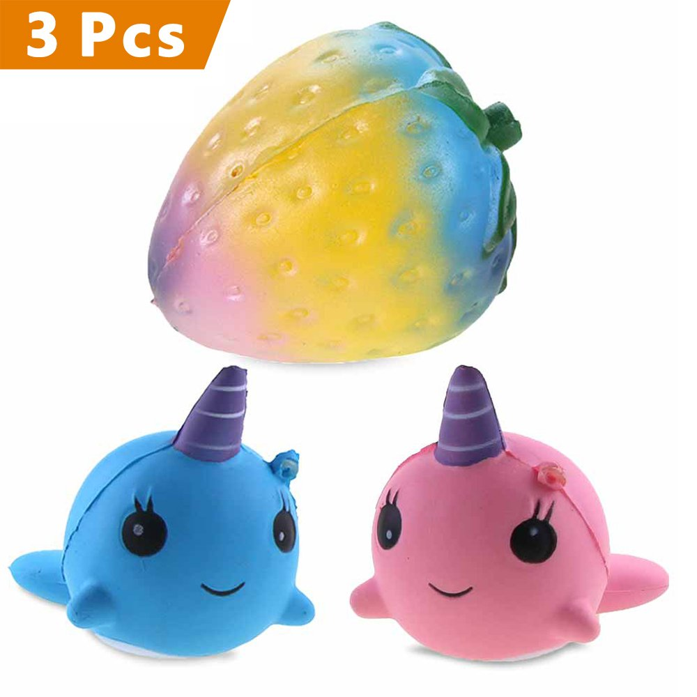 Rosybeat 3PCS Jumbo Slow Rising Squishies Rainbow Strawberry/Unicorn Whale Cartoon Squishies Charm Squishy Scented toys Kawaii Squishy Decoration toys for Kids and Adults
