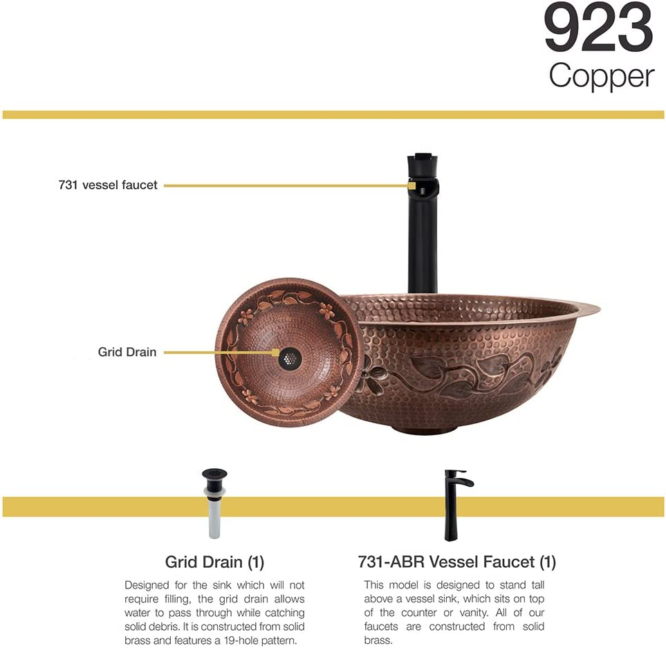 923 Single Bowl Copper Sink, 731 Faucet