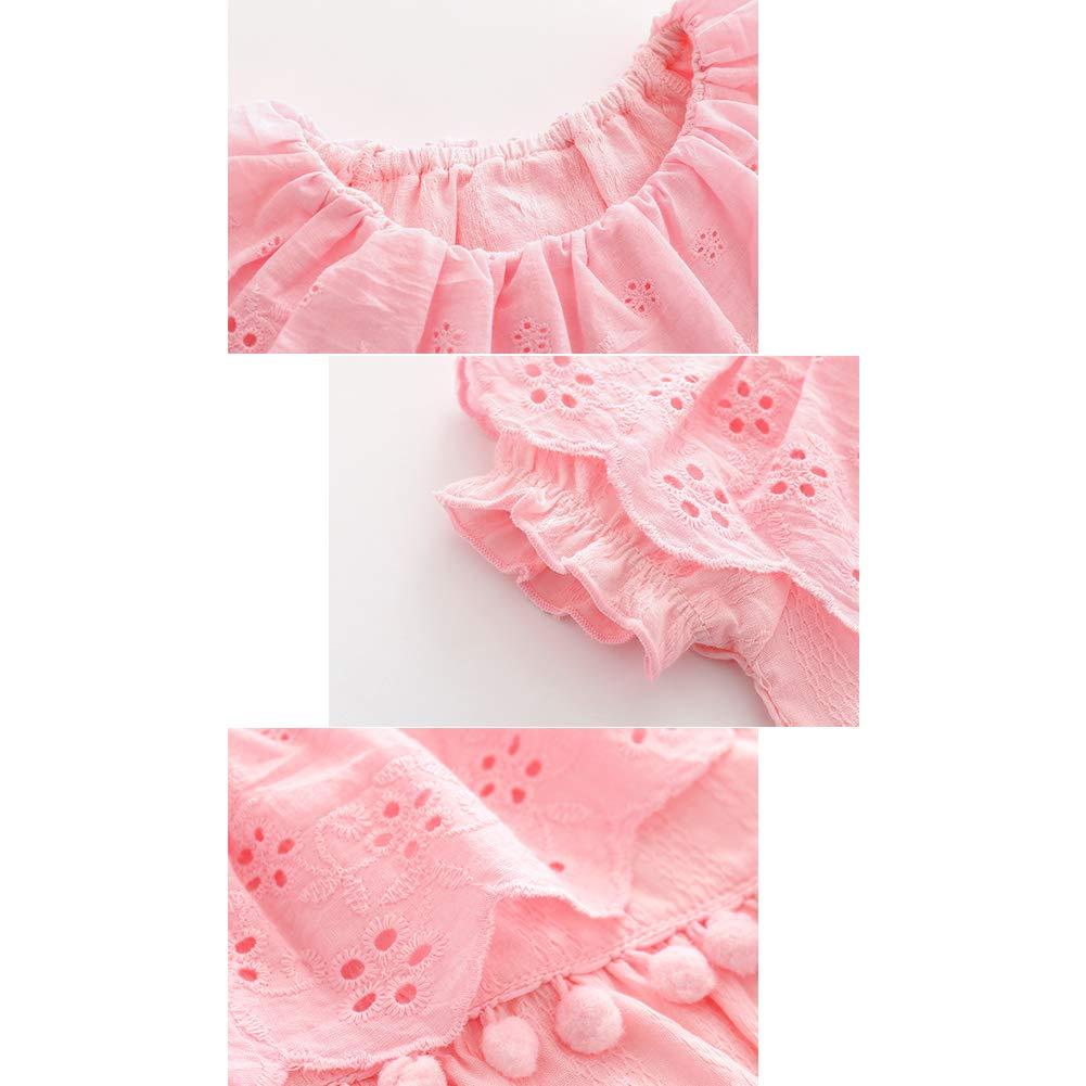 AAGOOD Neonato cotone della neonata delle tute rotonde Neack pagliaccetto delle tute maniche corte tuta fototecnica abiti rosa 80 centimetri