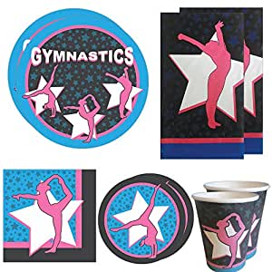Gymnastics Deluxe Party Packs (70 Pieces for 16 Guests!), Gymnast Birthday Supplies, Gymnast Competition Supplies, Tableware