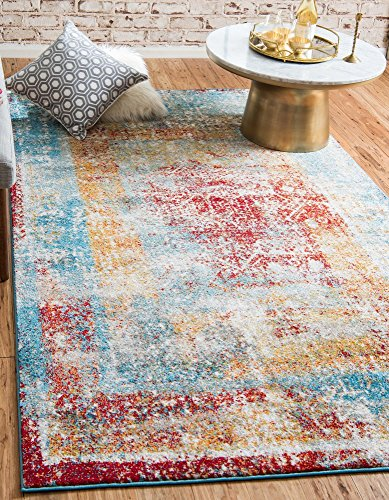 (Unique Loom Rosso Collection Vintage Traditional Distressed Multi Area Rug (5' 0 x 8' 0))