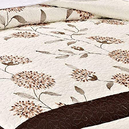 Serenta Classic Prewashed Taupe Sun Flowers Microfiber Cotton Filled Bedspread Quilt 3 Pieces Bed Set Queen