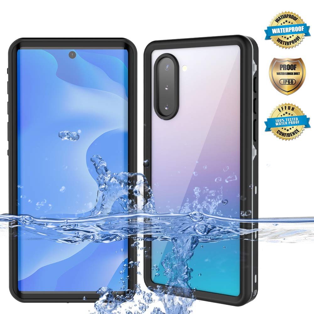 IP68 Certified Waterproof Shockproof Snowproof Dustproof Full Body Protection Underwater Cover with Built-in Screen Protector for Samsung Galaxy Note 10 EFFUN Samsung Galaxy Note 10 Waterproof Case