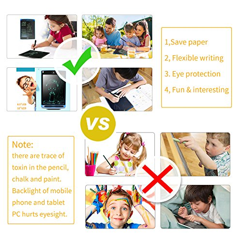 Sanwin 8.5 Inch Digital Ewriter LCD Drawing Tablet Eco Friendly Paperless Drawing/Doodle Pad for Kids,No Backlit Safe to Eyes Easy Use,Magnet Stick Fridge Memo Board Long Life 50000 Erase Time(Green) by Sanwin (Image #5)