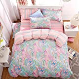 California King Versus King Size Bed CocoQueen Floral Print Microfiber 4pcs Duvet Cover Set Twin Size Colorful Pink Girl