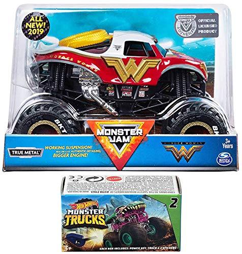 Hot Female Superheros (Hot Wheels Wonder Monster Action Jam 2019 Giant Official Woman Super Hero Pickup Blind Box Series Mini Monster Truck with Power Key Launcher 2 Items)