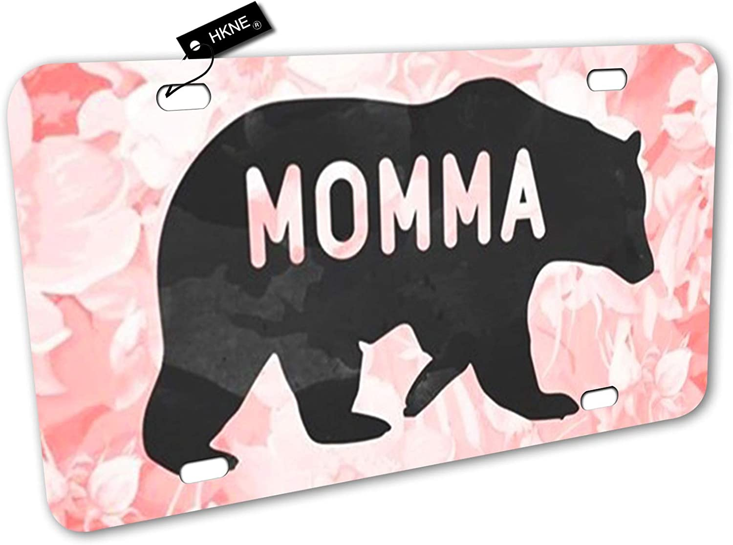 Momma Bear License Plate Front Aluminum Metal License Plate Auto Car Tag Novelty Home Decor Signs for Women for Mom Mama 6 inch X 12 inch