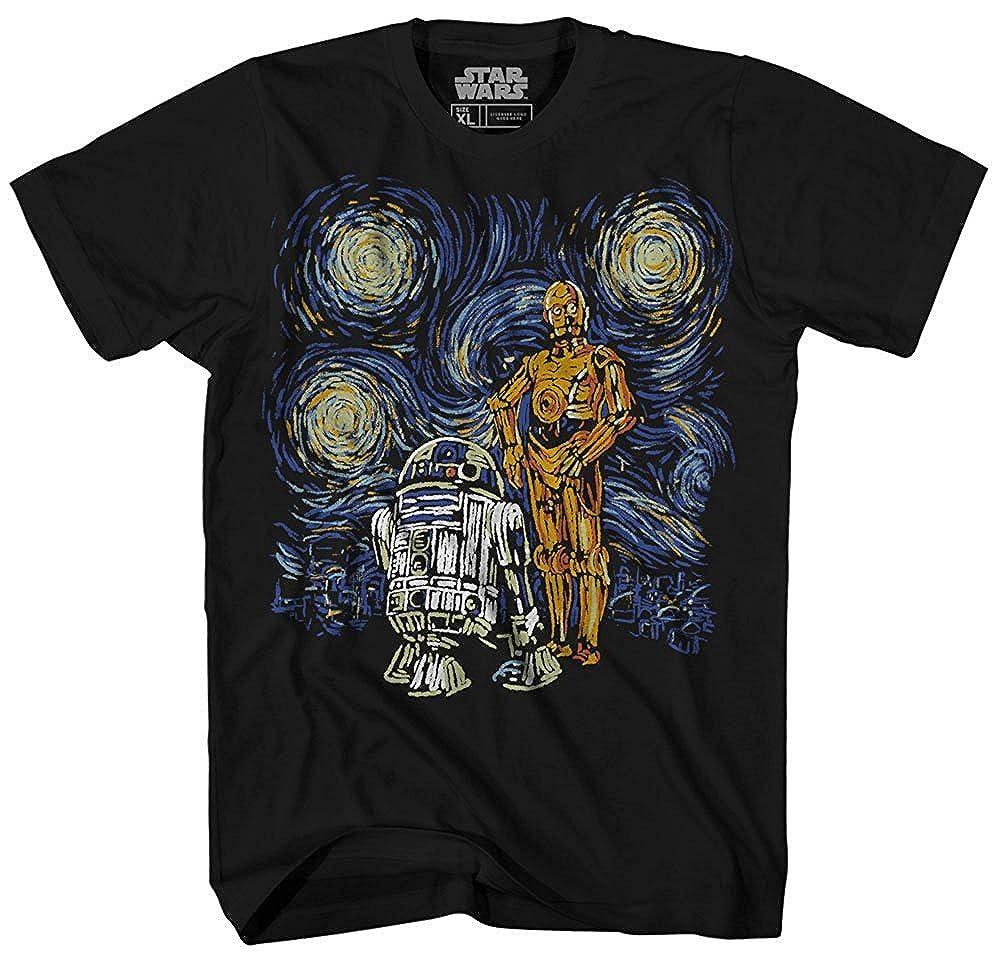 808eabb6 Amazon.com: Star Wars T Shirt Men's Starry Night Droid R2-D2 C-3PO Men's Graphic  Tee: Clothing