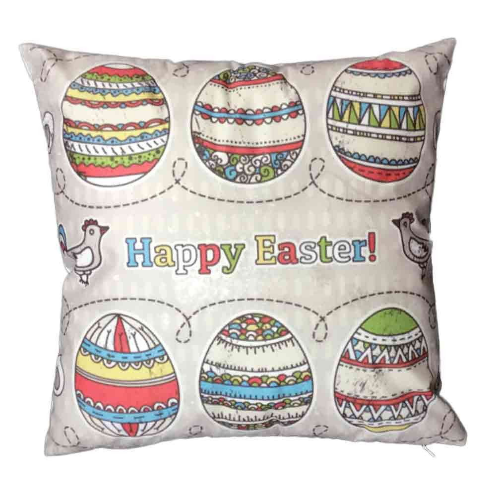 Pgojuni Easter Sofa Bed Home Decoration Festival Pillow Cover Easter Eggs Pillow Case Cushion Cover (A)