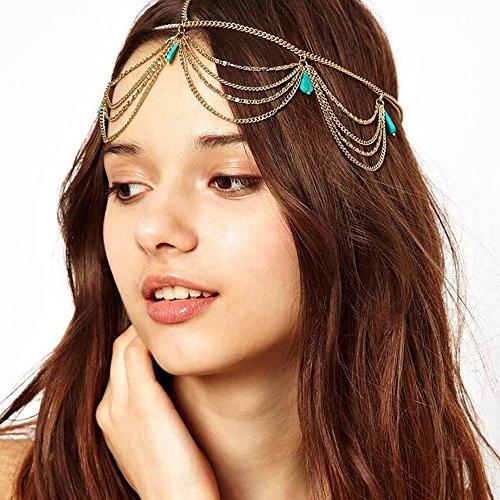 Missgrace Bridal Silver Head Chain Head Piece Metal Chain Jewelry Headband Head Hair Band Tassels Pearl