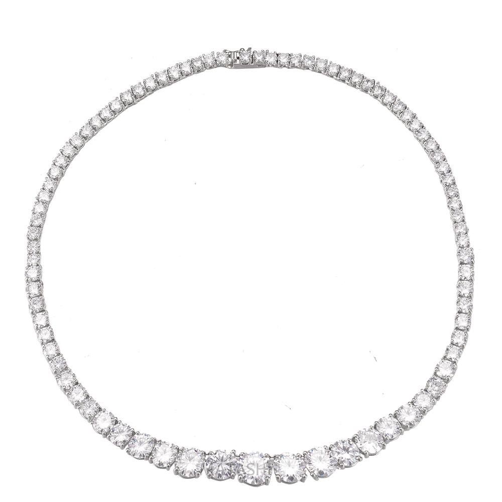 Rhodium Plated Earrings & Necklace Set-Zircon Bridal Wedding Necklace Earring Jewelry Set Round Cut withWomen Fashion Jewelry Set–Bridesmaids,Birthday,Anniversary Gifts For Women by Matashi (Image #7)