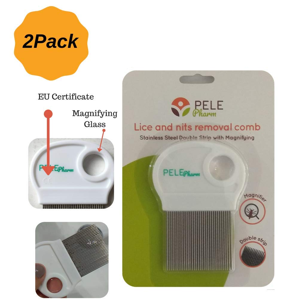 2 Pack Hair Lice Comb Free Terminator Effective Removing Nits for Kids Treatment | NOT Pull Out Hair | Best for Long/Short/Thick/Fine/Dry & Wet Hair Louse | Stainless Steel Double Grooved Teeth by Bussani