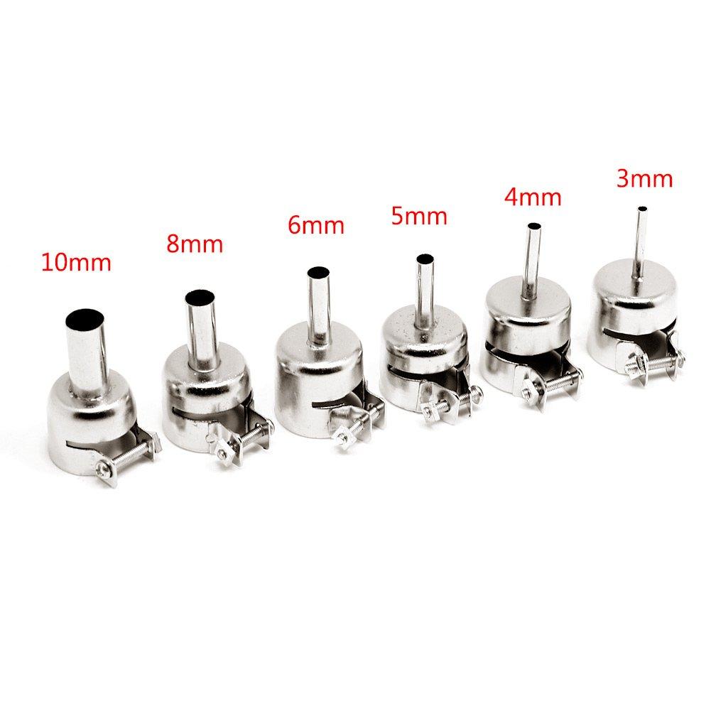 Qhufnng 6Pcs 850 Circular Nozzles Hot Air Rework Reflow Soldering Station 3//4//5//6//8//10mm