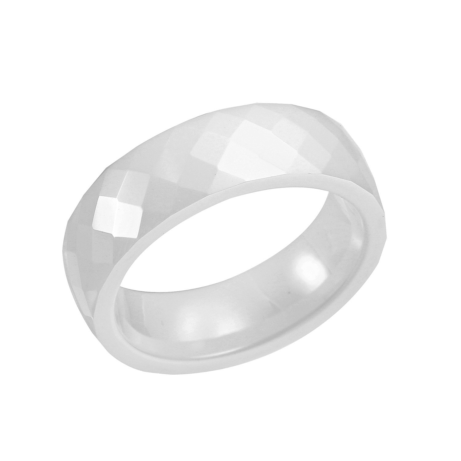 MURREAR Women Wedding Band Ring Classic Ceramic Ring Faceted Diamond-Cut High Polished 6mm Mother's Day Gift (White, 6)