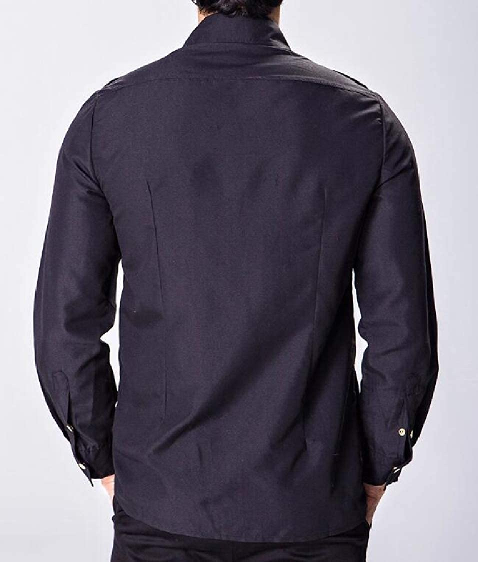 SELX Men Slim Long Sleeve with Zip Deco Up Solid Color Easy Care Shirts