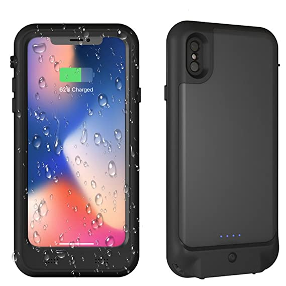 brand new 06520 2cb5e iPhone X IP68 Waterproof Battery Case,Built in 3.5mm Earphone Jack&Screen  Protector, 3400mAh Portable Charger Case Fully Sealed Waterproof housing  for ...