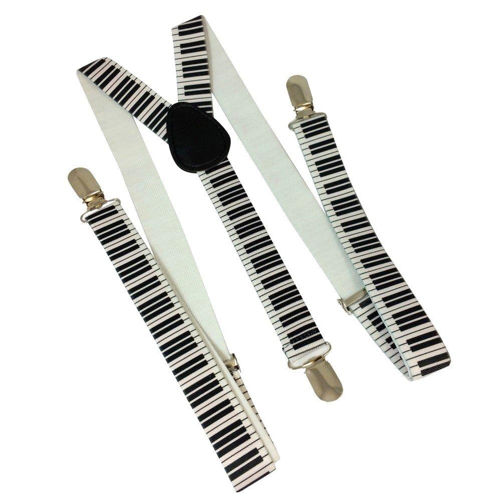 Bretelle Y completamente regolabile doppio lato, motivo: tastiera di pianoforte bianco e nero–modello 'Skinny' 2.5cm di larghezza di elastico solido con 3Clip cromato, Unisex Splendeur d' Art©