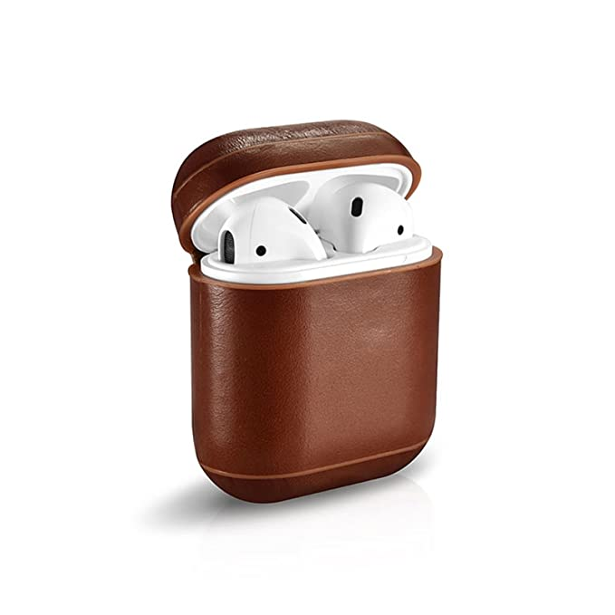 buy online 36067 c4d3a Xberstar Genuine Leather Shock Proof Protective Case Sleeve Skin Cover for  Apple AirPods True Wireless Headphone Charging Box (Leather case, Brown)