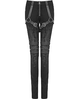 1d8bd5473c0e3 Punk Rave Womens Dieselpunk Biker Jeans Pants Black Goth Punk Faux Leather  Spike