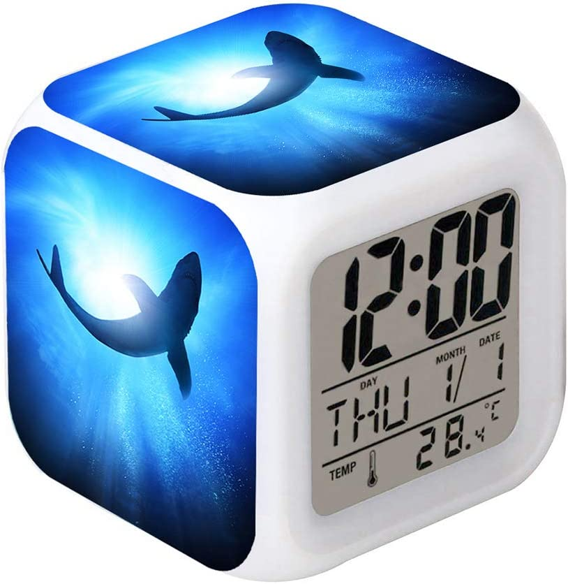 Cointone Led Alarm Clock Shark Design Creative Desk Table Clock Glowing Electronic colorful Digital Alarm