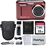 Kodak PIXPRO Friendly Zoom FZ43 16 MP Digital Camera with 4X Optical Zoom and 2.7 LCD Screen (Red) + Black Point & Shoot…