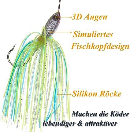 Zander /& Barsch Spinner k/öder 6 x Spinnerbait mit Silikon Skirt zum Spinnfischen auf Hecht