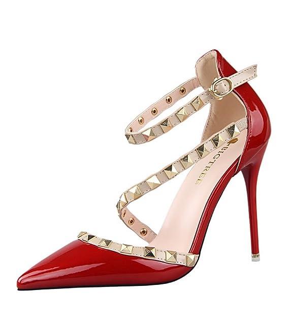 176f03f7 Minetom Verano Rotación Remache Mujer Estiletes De Moda Punta Estrecha  Zapatos De Tacón Altos Pumps Stiletto Elegante Fiesta Hebilla Cerrado  Sandalias Rojo ...