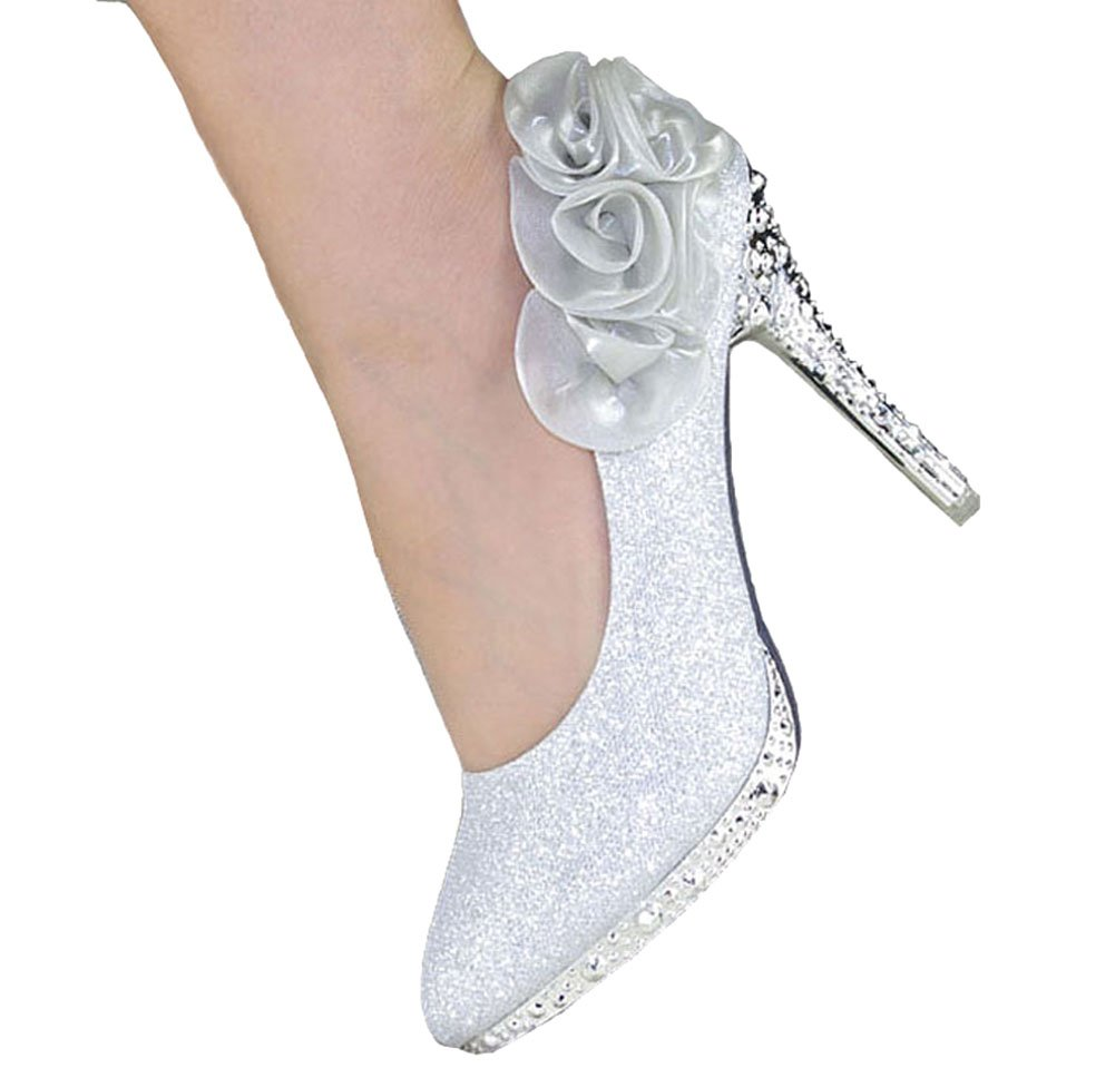Getmorebeauty Women's Silver Rose Flower Crystal Glitter Wedding Shoes