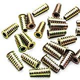 HUELE 50 Pcs Zinc Hex Threaded Insert Furniture Screw In Nuts 1/4''-20 Internal Threads 25mm Length