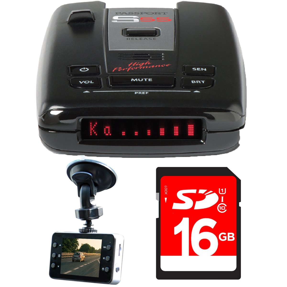 Escort Passport S55 High Performance Radar and Laser Detector with DSP with Bundle Includes, Xtreme Automotive HD DVR IR Night Vision HD Dash Camera w/ 2.4'' LCD & 16GB SDHC High Speed Memory Card by Escort