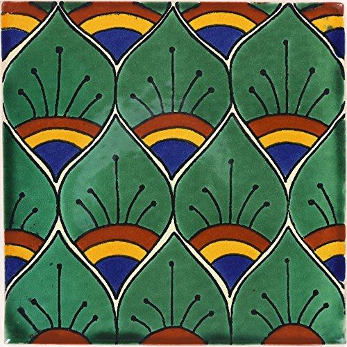 (Tierra y Fuego Box of 9-4¼ x 4¼ Green Peacock Feathers - Talavera Mexican Ceramic Tiles)