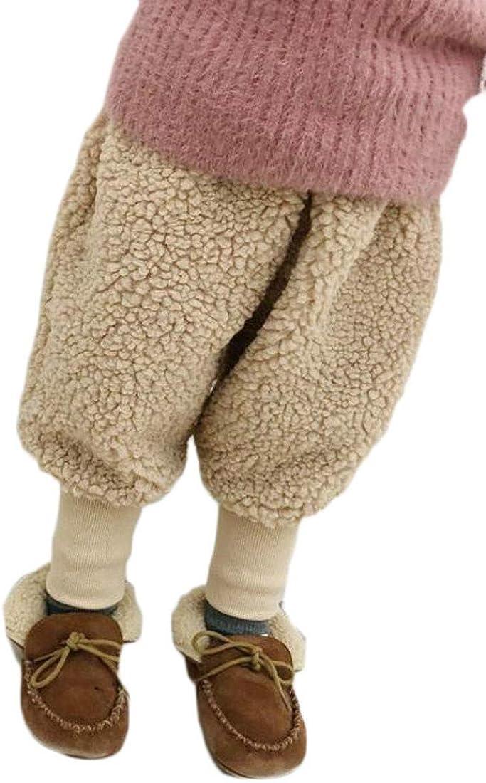 Cromoncent Baby Boy Girl Winter Warm Thicken Fleece Elastic Waist Pants