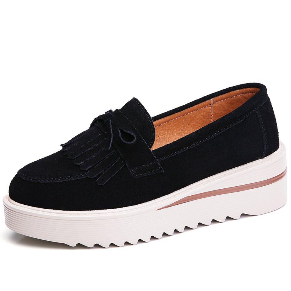 ZYEN Women Platform Slip On Loafers Shoes Comfort Tassel Suede Moccasins Wedge Walking Sneakers,2859 Black,39