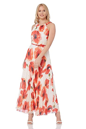 a204aec05c Roman Originals Women Poppy Pleat Maxi Dress - Ladies Summer Long  Sleeveless Chiffon Cocktail Party Wedding Pleated Guests Mother of The  Bride Outfit Cruise ...