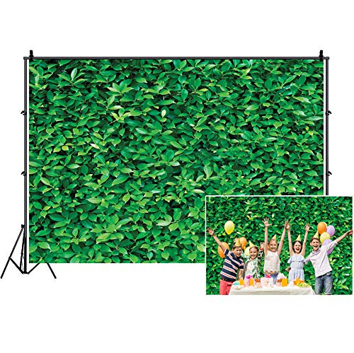 LTLYH Natural Green Leaves Wall Photography Backdrop Background for Safari Jungle Theme Party Banner Decoration Newborn Baby Shower Birthday Party Outdoor Photo Studio Booth Prop A01 -