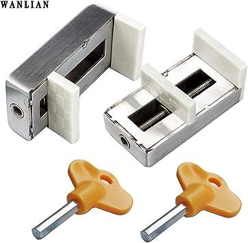Pack de 2 cerraduras correderas para ventanas con tapón de seguridad para puerta de seguridad de acero antirrobo: Amazon.es: Bricolaje y herramientas