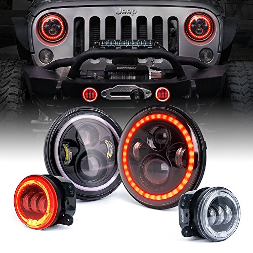 Xprite Jeep Wrangler 7″ 80W CREE LED Headlights & 4″ 60W Fog Lights Combo w/Red Halo for 2007-2018 Jeep Wrangler JK