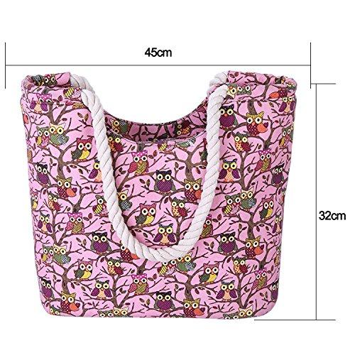 Estampado de Mujer Playa Casuales Sasairy Playa Bolso Búho Shopper Lona Compras rosa Bolso Durable Lona de para Bolso Ideal Viaje Mano Elefantes Negro de de Grande Bolsa 80d7wq0