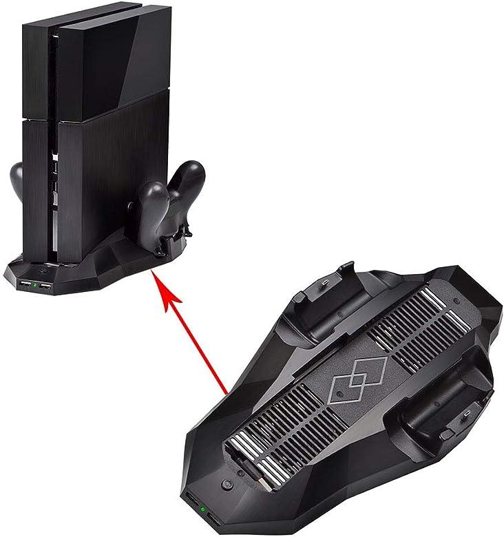Nider Soporte Vertical para PS4 con Ventilador de refrigeración, Doble Controlador de estación de Carga Adicional, Puertos HUB, Color Negro: Amazon.es: Joyería