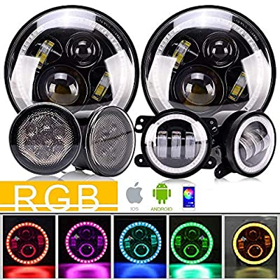 DOT 7Inch Led Round Headlights RGB Halo Hi/Lo Beam DRL With Bluetooth Remote + 4Inch Front Bumper RGB Fog Lights + Amber Front Grille LED Turn Signal Light For 2007-2017 Jeep Wrangler JK JKU Rubicon