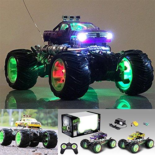 RC Ferngesteuertes Auto Monster Truck Monstertruck mit Frontlicht und Leuchtenden Gummireifen Neuheit