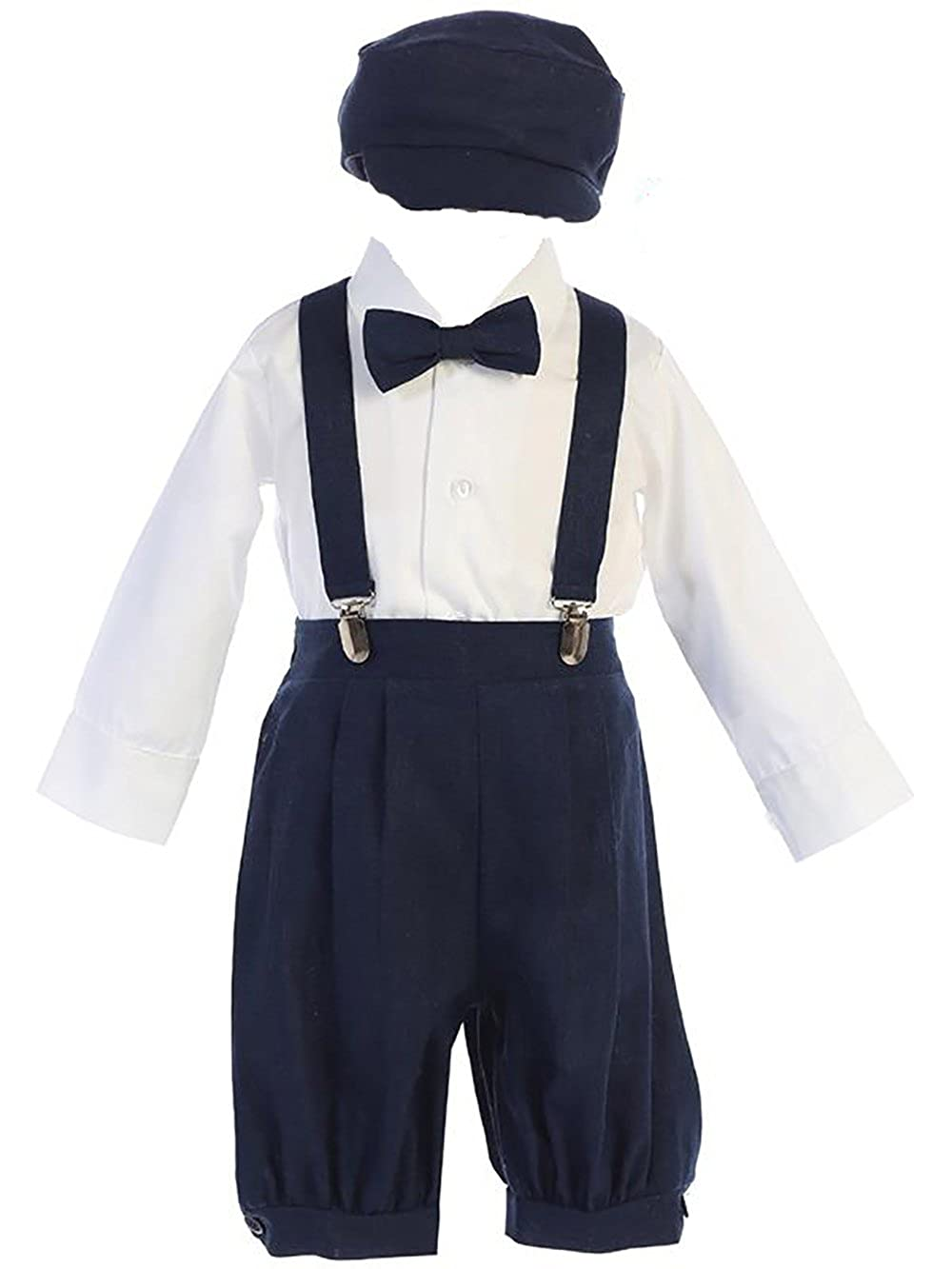 Lito Infant Toddler Boys Suspender Knickers with Long Sleeve Shirt and Hat